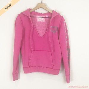 [VS Pink] Love Pink V-Neck Bling Logo Sweatshirt